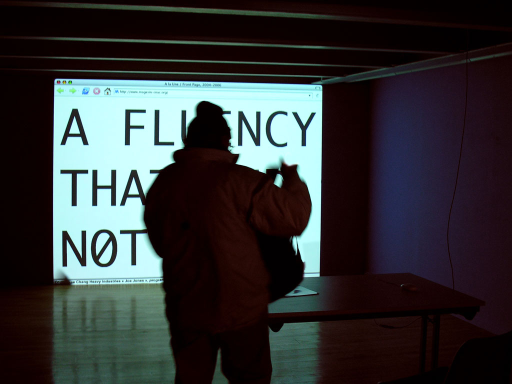 Claude Closky, 'www.magasin', 2004-2005, conception of the Centre National d'Art Contemporain Le Magasin web site. Realisation: Jean-Noël Lafargue. Weekly artist commissions