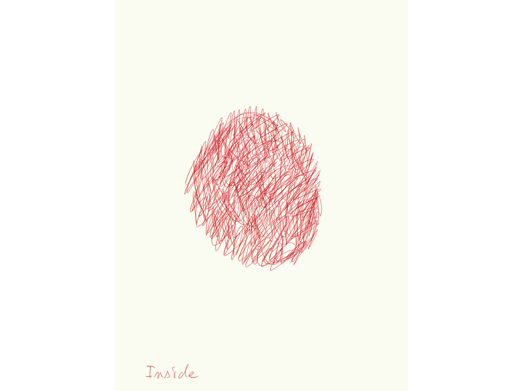 Claude Closky, 'Inside (border)', 2008, red ballpoint on paper, diptyque, twice 40 x 30 cm.