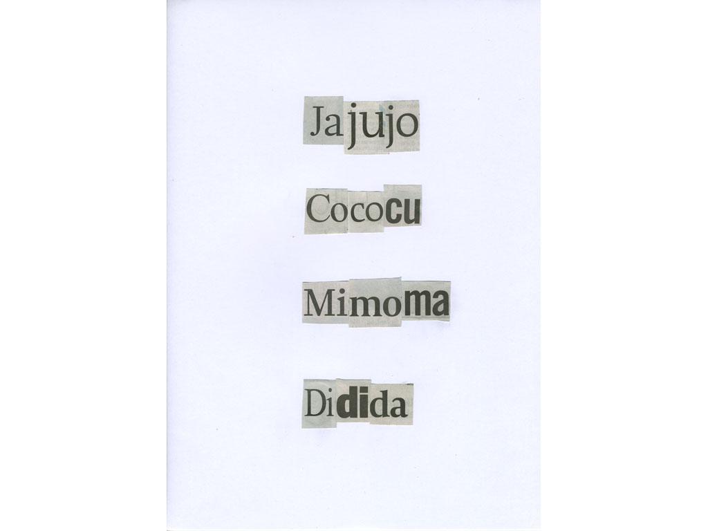 Claude Closky, 'Jajujo', 2010, collage on paper, diptyque, twice 30 x 21 cm.