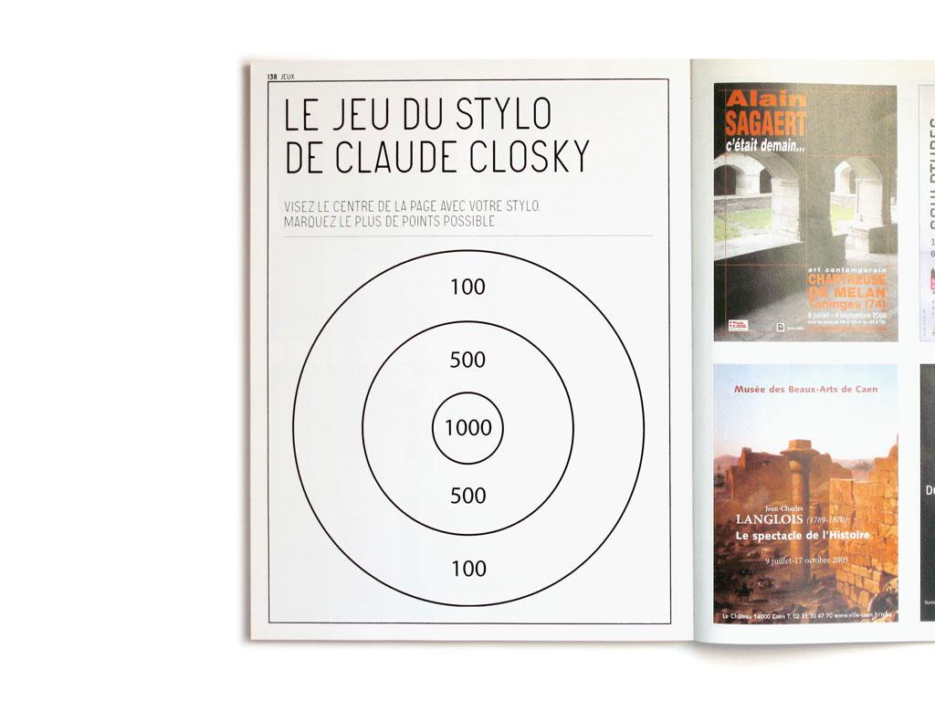 Claude Closky, 'Le Jeu du stylo [The Pen game]', 2005, Paris: Beaux Arts magazine no. 253, p. 138.