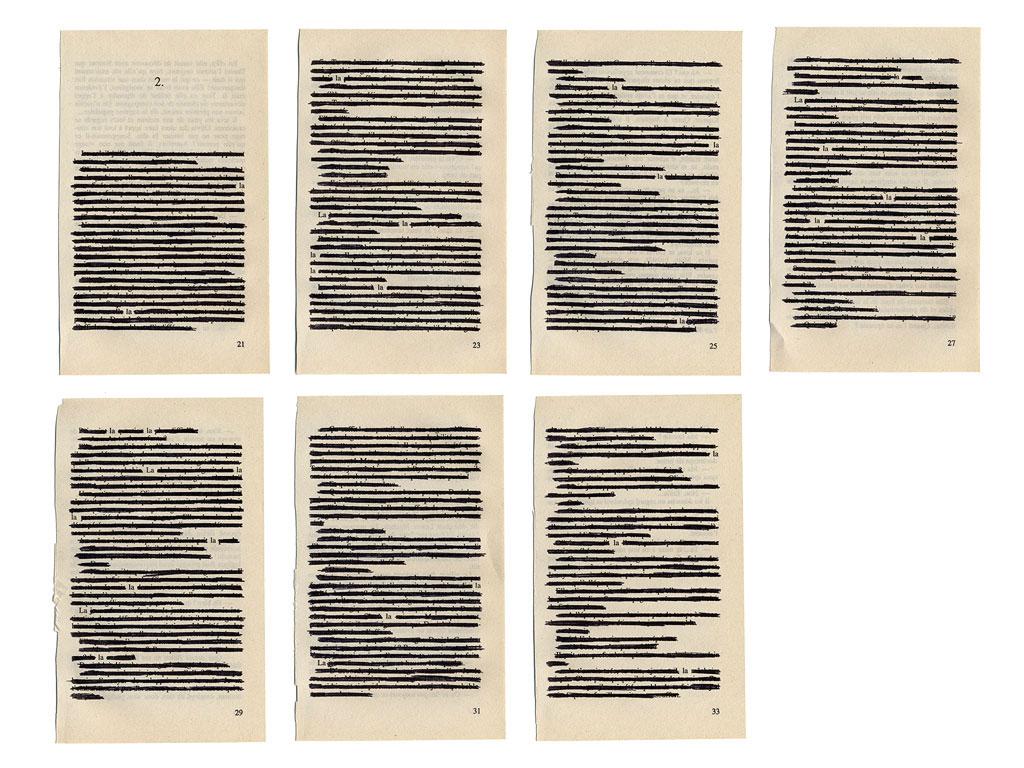 Claude Closky, 'La la la,  2', 2003, black ball-point on book pages, 50  x 65 cm.