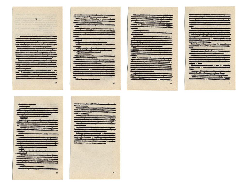 Claude Closky, 'La la la, 3', 2003, black ball-point on book pages, 50 x 65 cm.