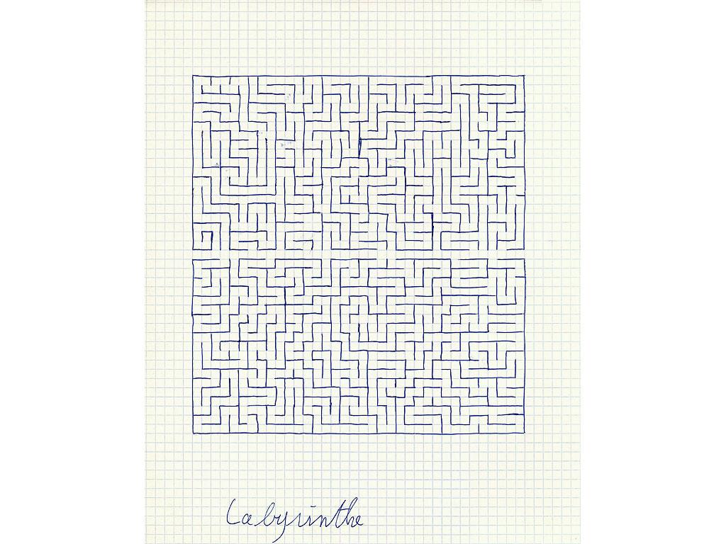 Claude Closky, 'Labyrinthe [labyrinth]', 1994, ballpoint pen on grid paper, 30 x 24 cm.