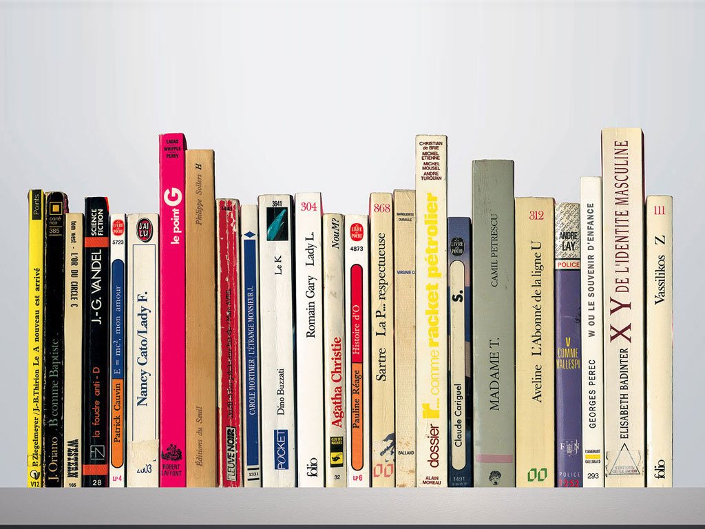 Claude Closky, 'Le A nouveau est arrivé [the new A has arrived]', 1995, books installation, 22 x 45 x 15 cm. Installation view '8 1/2', Galerie Jousse Seguin, Paris. 29 April - 17 June 1995. Curated by Elein Fleiss, Olivier Zahm