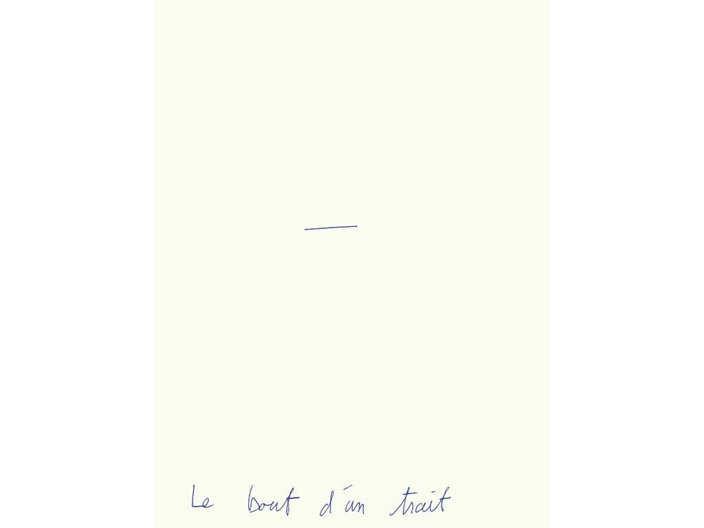 Claude Closky, 'Le bout d'un trait [The End of a Line]', 1994, blue ballpoint pen on paper, 30 x 24 cm.