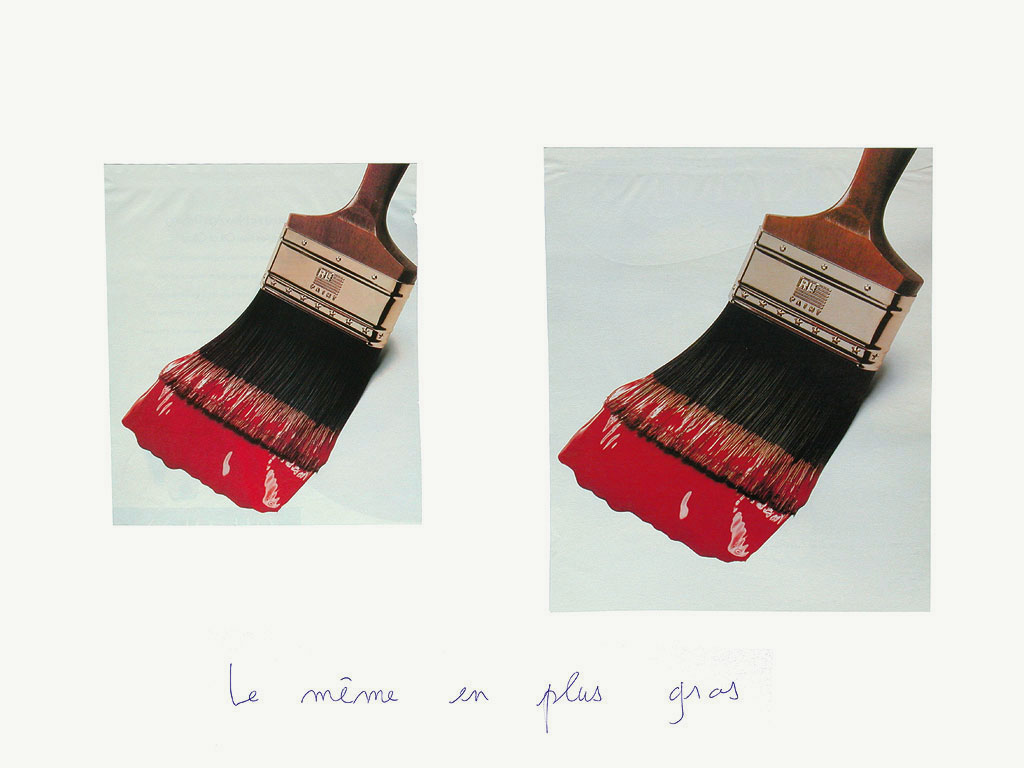 Claude Closky, 'Le même en plus gros [the same, bigger (red paint)]', 1996-1998, ballpoint pen and collage on paper, 50 x 70 cm.