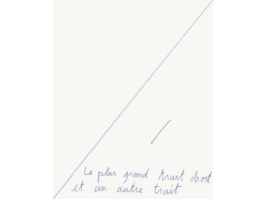 Claude Closky, 'Le plus grand trait droit et un autre trait [the biggest straight line and another line]', 1993, ballpoint pen on paper, 30 x 24 cm.