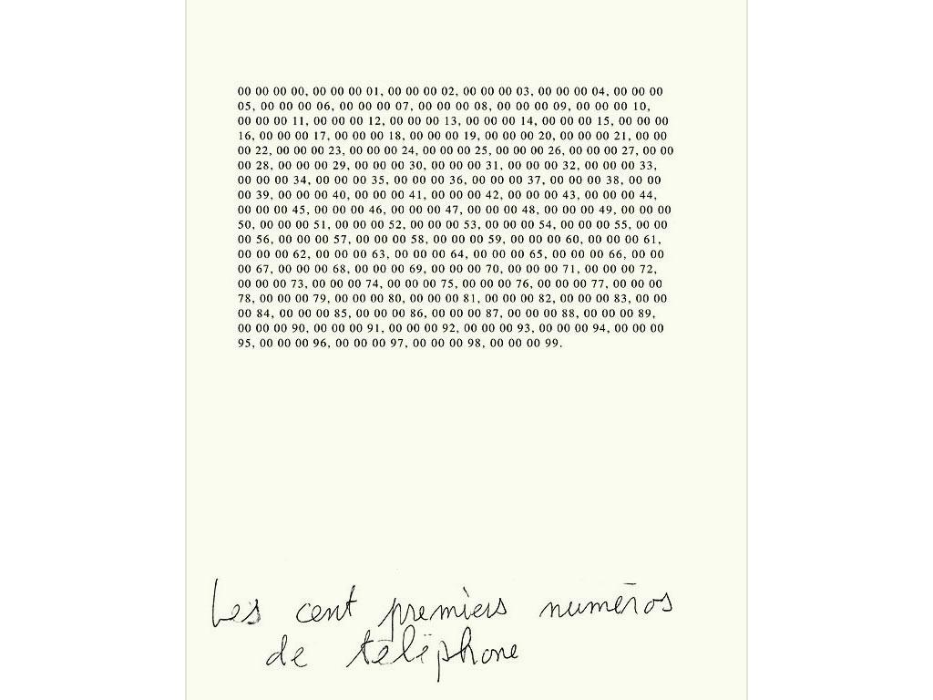 Claude Closky, 'Les cents premiers numéros de téléphones [The first hundred telephone numbers]', 1989, ballpoint pen on bromide print, 30 x 24 cm.