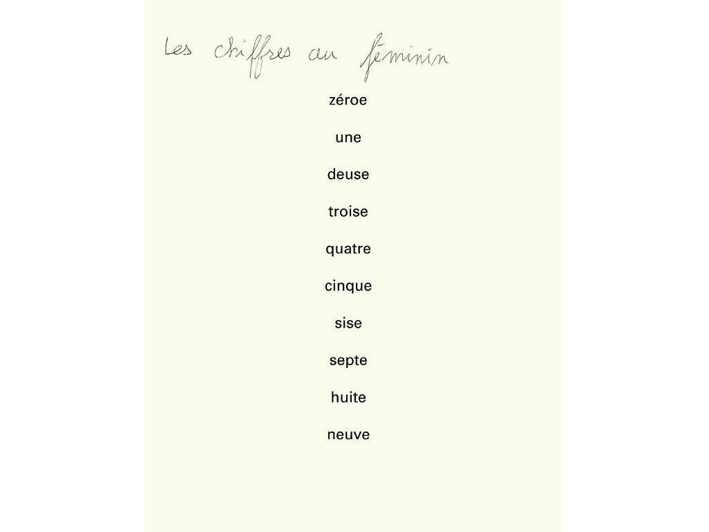 Claude Closky, 'Les chiffres au féminin [numbers in the feminine]', 1990, ballpoint pen on bromide print, 30 x 24 cm.