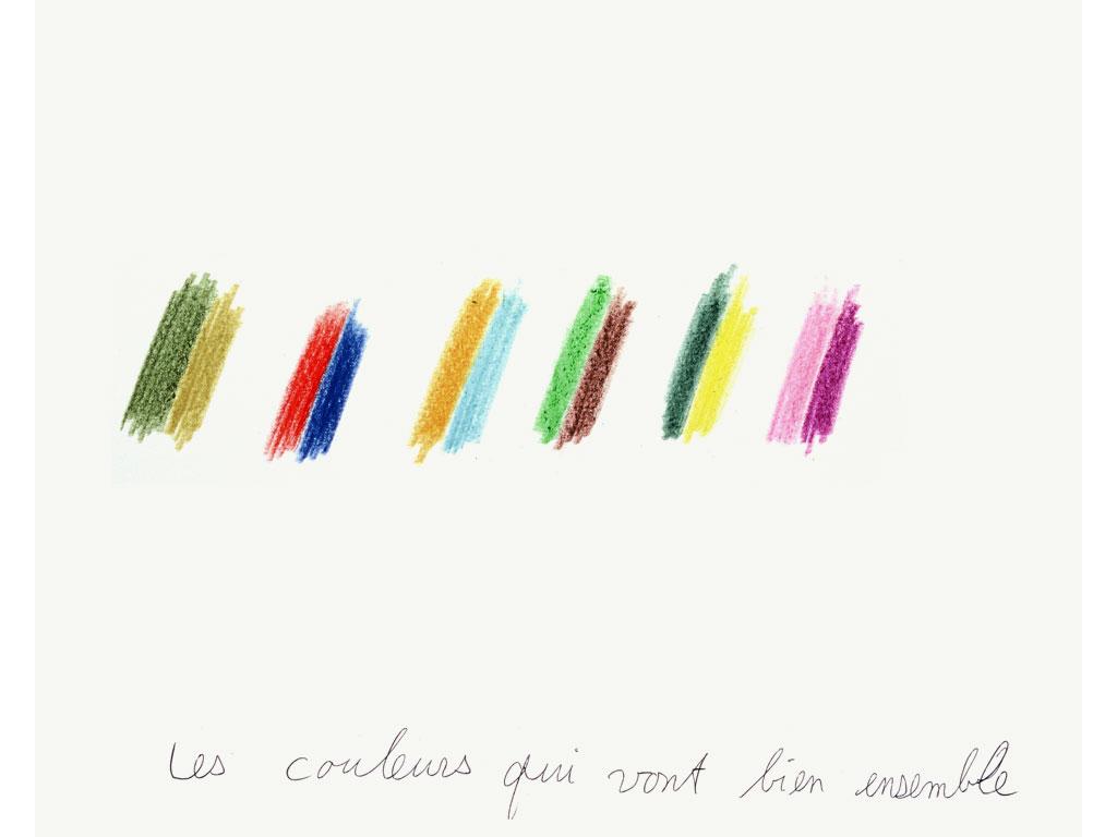 Claude Closky, 'Les couleurs qui vont bien ensemble [colors that go well together]', 1992, crayon on paper, 30 x 24 cm.
