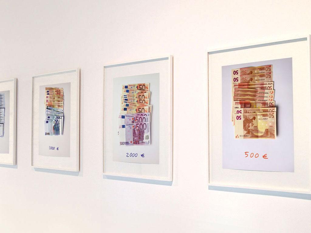 Claude Closky, 'Euros', 2002-2003, c-print, permanent felt-tip pen, 32 x 24 cm prints,  42 x 34 framed each. Exhibition view Domaine de Kerguéhennec Centre d'Art Contemporain, Bignan. 5 April - 15 June 2003. Curator: Frédéric Paul