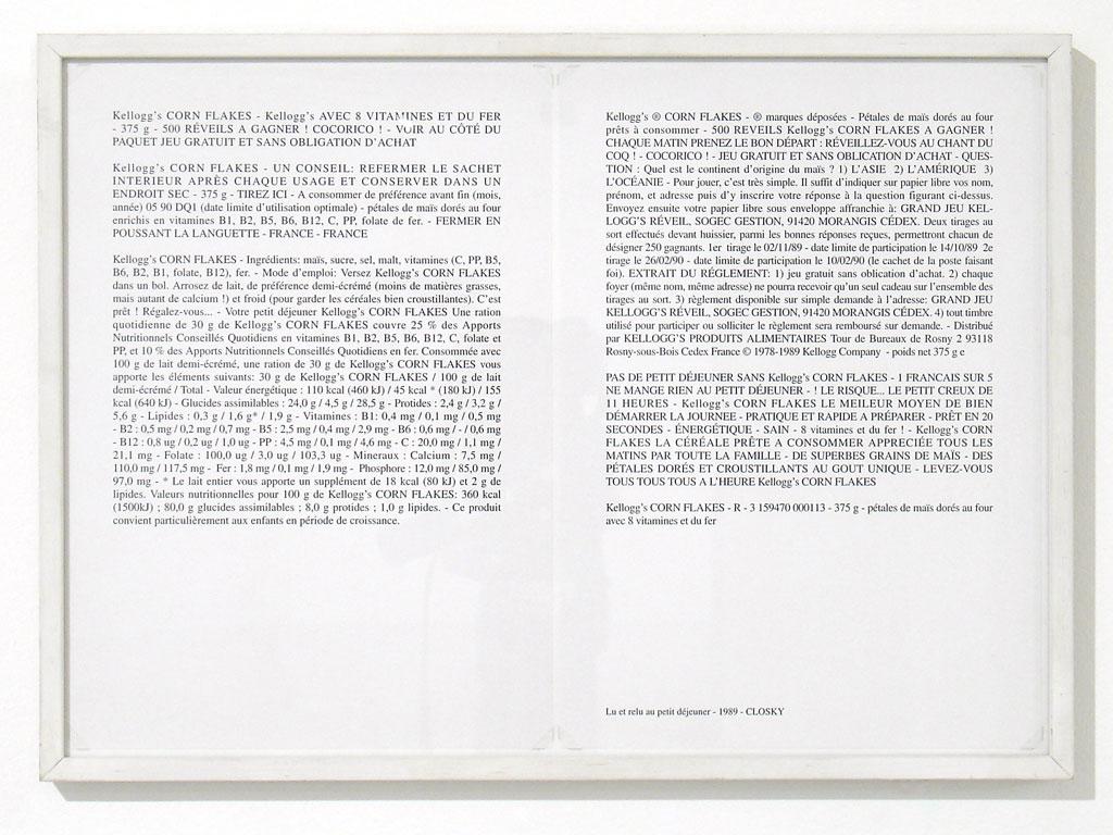 Claude Closky, 'Lu et relu au petit déjeuner [Read and read again at breakfast] (Cornflakes)', 1989, laserprint on paper, 2 pages 21 x 29,7 cm.