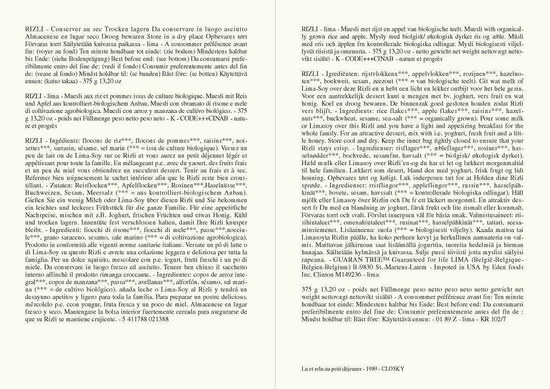 Claude Closky, 'Lu et relu au petit déjeuner [Read and read again at breakfast] (Muesli)', 1989, laser print on paper, 2 pages 21 x 29,7 cm.