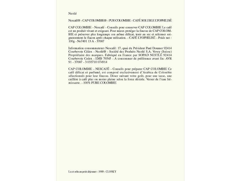 Claude Closky, 'Lu et relu au petit déjeuner [Read and read again at breakfast] (Nescafé)', 1989, laser print on paper, 21 x 29,7 cm.