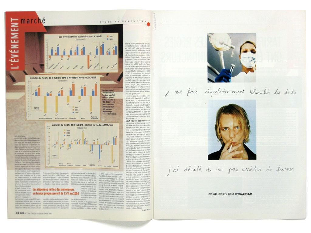 Claude Closky, 'Mes photos [My photos],' 2003, Advertisement campaign. Paris: Zefa, 15 pages (Paris: CB News no. 761-770; Paris Etape no. 101; Paris: Crash no. 27).