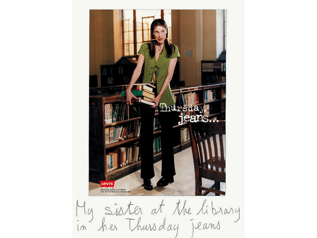 Claude Closky, 'My sister at the library in her Thursday jeans', 2000, ballpoint pen and collage on paper, 35 x 25,5 cm.