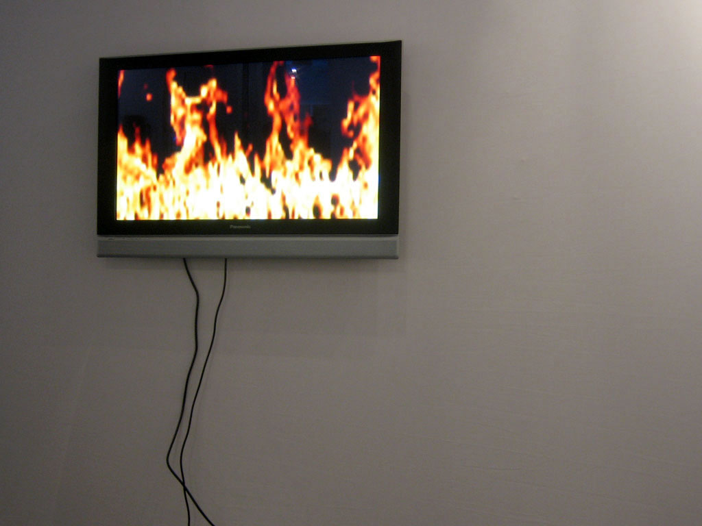 Claude Closky, 'On fire', 2006, flat 16/9 monitor, stereo, horizontal, dvd player, unlimited duration.
