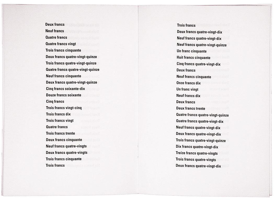Claude Closky, 'Plus de 300 petits prix [300 budget prices],' 1990, artist's publication. Photocopy, 16 pages, 21 x 15 cm.