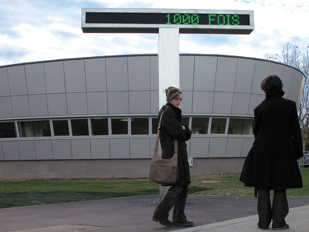 Claude Closky, 'Plusieurs fois [Many times]', 2002-2003, ellectronic led sign, green and red diodes, stainless steel, connection to the tram network (plusieursfois.online.fr), H = 370 cm, L = 330 cm, l = 40 cm.Commissioned at Cenon by the Communauté urbaine de Bordeaux and the Ministère de la culture et de la communication - Drac Aquitaine.
