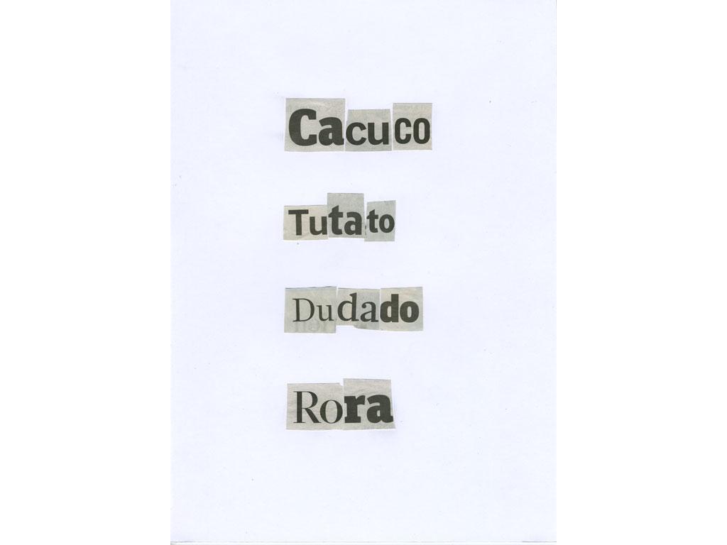 Claude Closky, 'Racatada', 2010, collage on paper, diptyque, twice 30 x 21 cm.