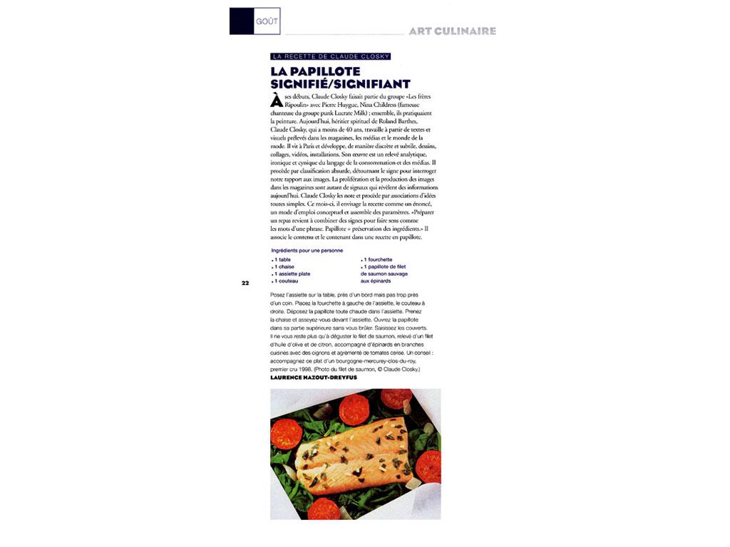 Claude Closky, 'La recette de Claude Closky [Claude Closky's recipe]', 2002, Paris: Beaux Arts magazine #214 (March), p. 22.