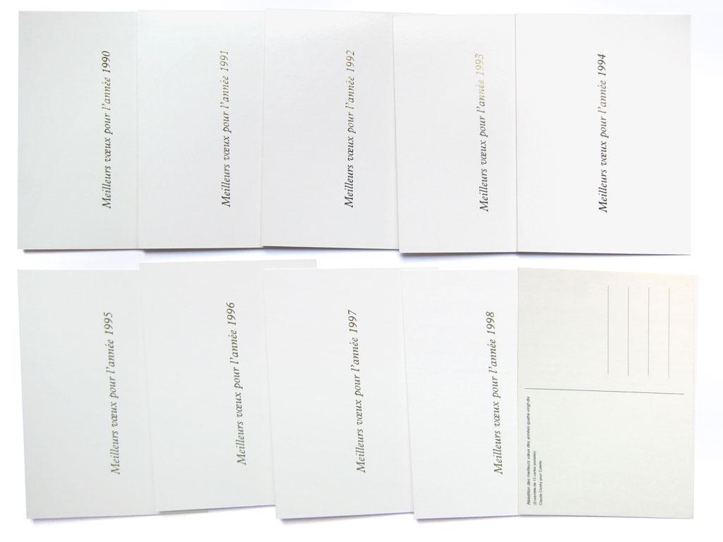 Claude Closky, 'Réédition des meilleurs vœux des années quatre-vingt-dix [Best wishes of the Nineties republished]', 1999, postcards, Paris: Colette, 10 cards 105 x 150 mm each.