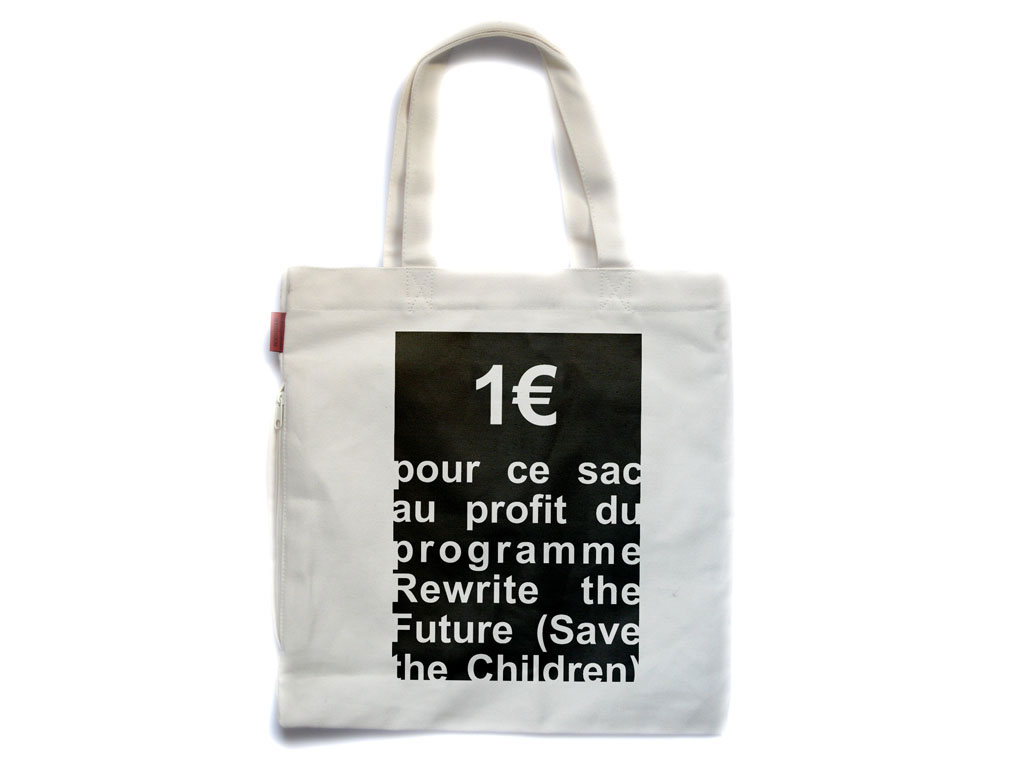 Claude Closky, 'Untitled (Save the Children)', 2007, for the benefit of Save the Children organization. Bag, transfer, 75 x 50 cm.