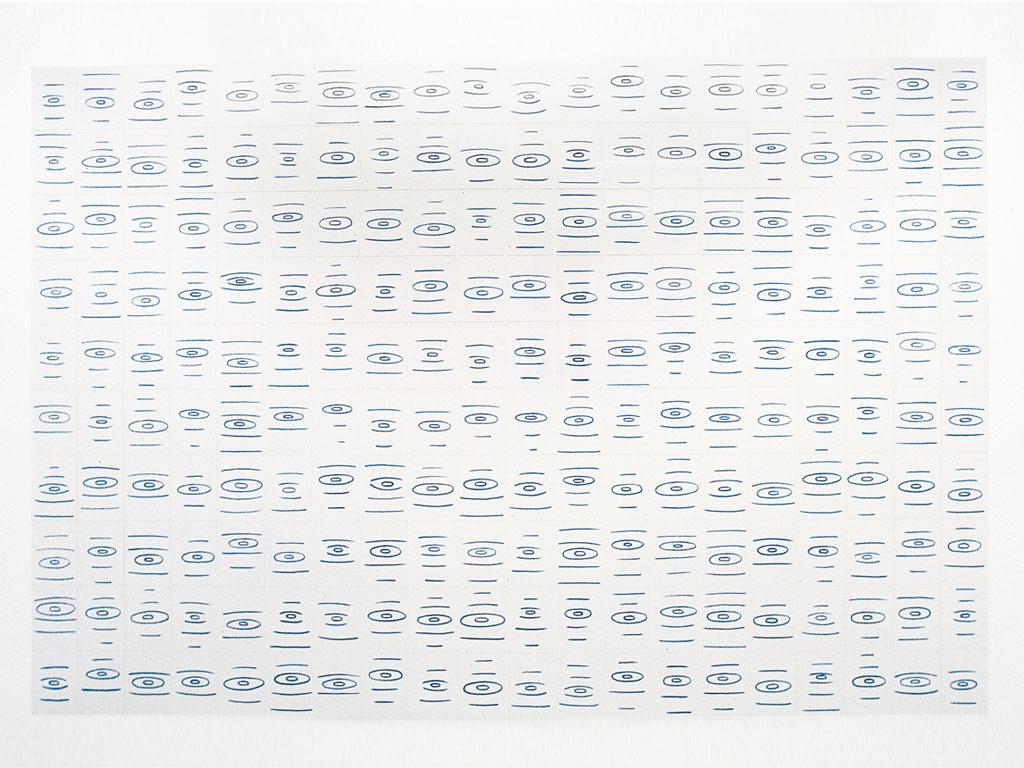 Claude Closky, 'Ricochets', 1998, blue phtalo ink on paper, 355 x 624 cm (240 sheets 35 x 25,5 cm).