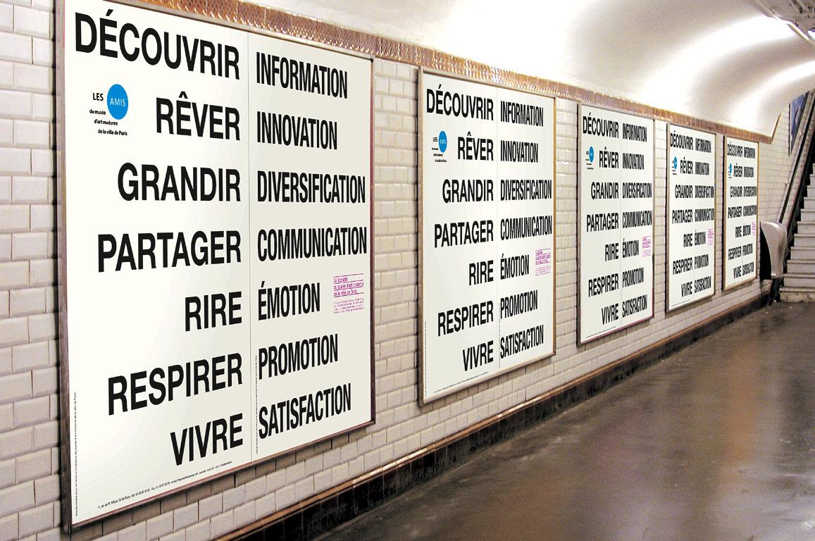 Claude Closky, 'Rire/Emotion [Laugh/Emotion],' 2001, Association des Amis & bookshop of the Musée d'art moderne de la ville de Paris advertisement campaign on subway billboards in Paris. Color silkscreen, 150 x 200 cm.