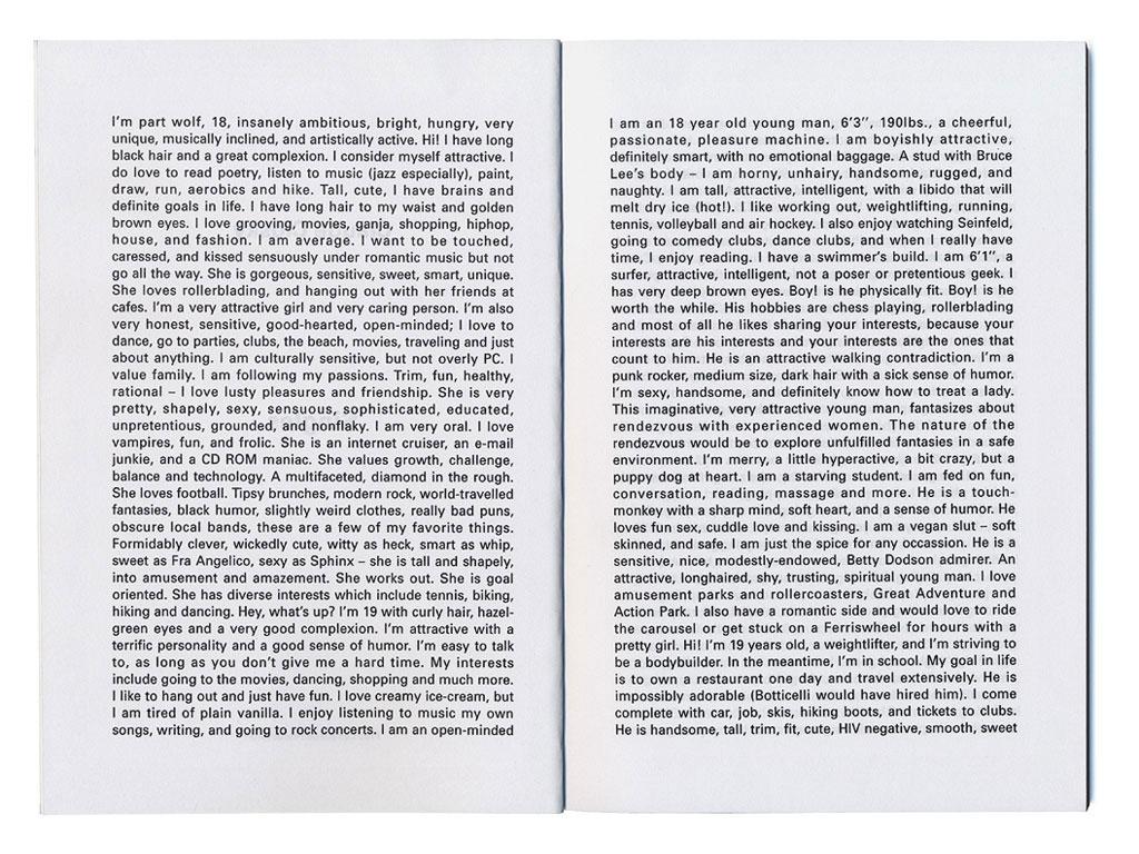 Claude Closky, Singles [Profils de célibataires], 1995