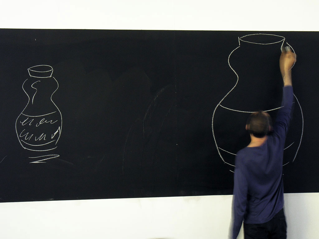 Claude Closky, 'Blackboard', 2006, performance, invited by Stéphanie Moisdon for 'Stéphanie's School', Grand Palais, Paris, (23 June). With Eluart Barajas, Julie Darribère, Rodolphe Delaunay, Marjan Denkov, Antoine Desailly, Claire Fouquet, Anne Le Henaf, Sébastien Loghman, Luis Nieto, Asami Nishimura, Gabriel Peyre, Clément Plessier, Wangfei Qu, Luc Schuhmacher, Florian Sicard, Daniela Serguieva, Min Hong Sun, Pierre Tectin.