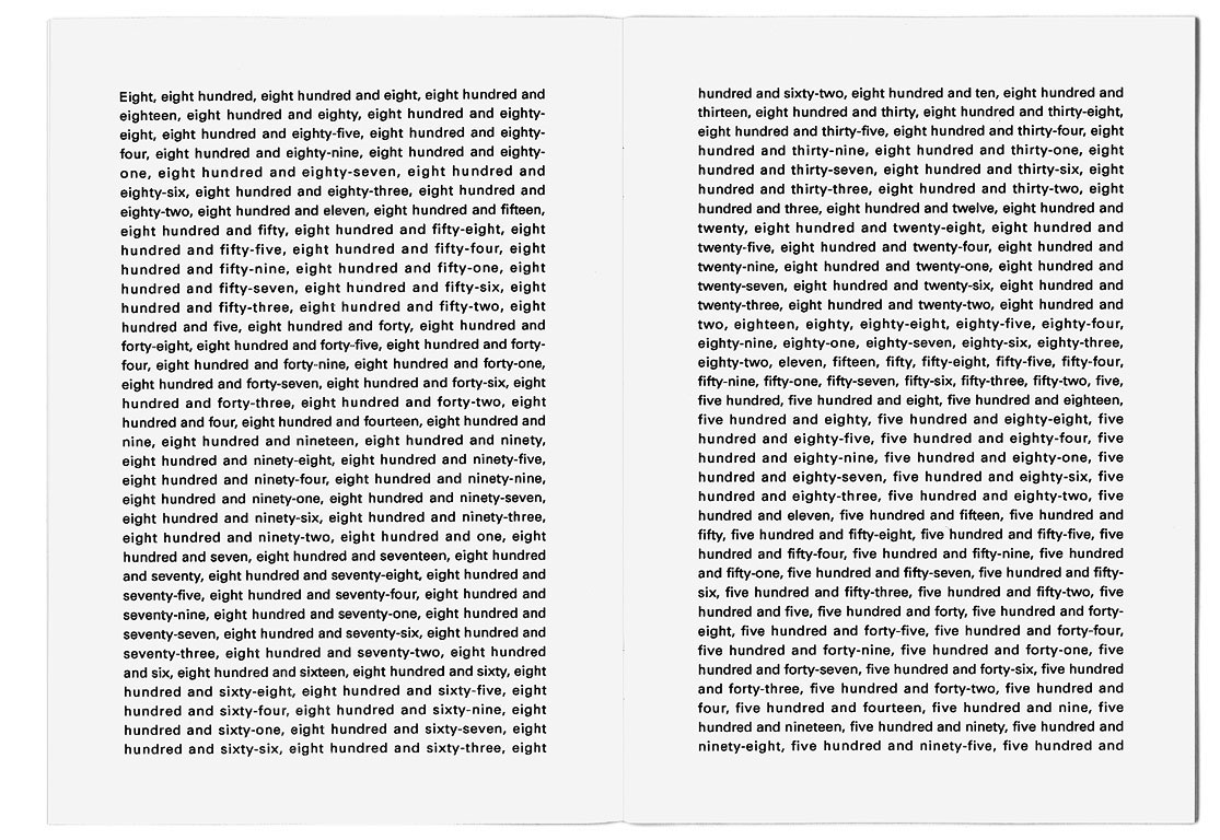 Claude Closky, 'The first thousand numbers classified in alphabetical order', 1989-1992, artist's publication, b&w photocopy, 16 pages, 21 x 15 cm.