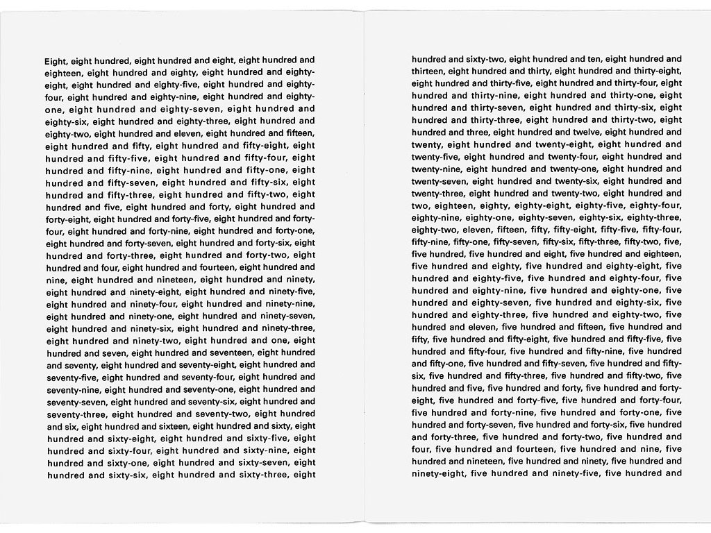 Claude Closky, The first thousand numbers classified in alphabetical order, 1989-1992