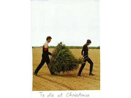 Claude Closky, 'To die at Christmas', 2009, collage and ball-point pen on paper, 30 x 21 cm.