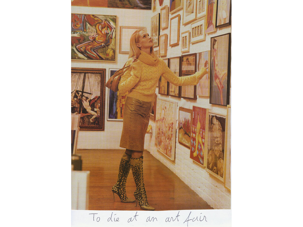 Claude Closky, 'To die at an art fair', 2009, collage and ball-point pen on paper, 30 x 21 cm.