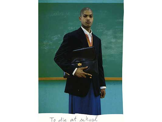 Claude Closky, 'To die at school', 2009, collage and ball-point pen on paper, 30 x 21 cm.