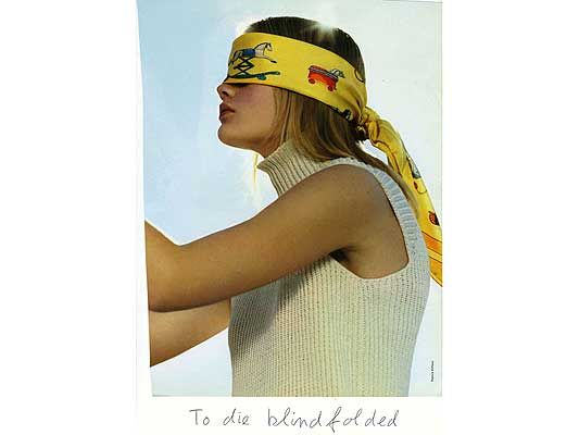 Claude Closky, 'To die blindfolded', 2009, collage and ball-point pen on paper, 30 x 21 cm.