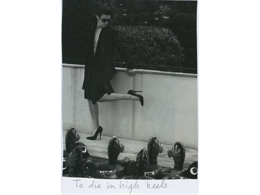 Claude Closky, 'To die in high heels', 2009, collage and ball-point pen on paper, 30 x 21 cm.