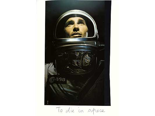 Claude Closky, 'To die in space', 2009, collage and ball-point pen on paper, 30 x 21 cm.