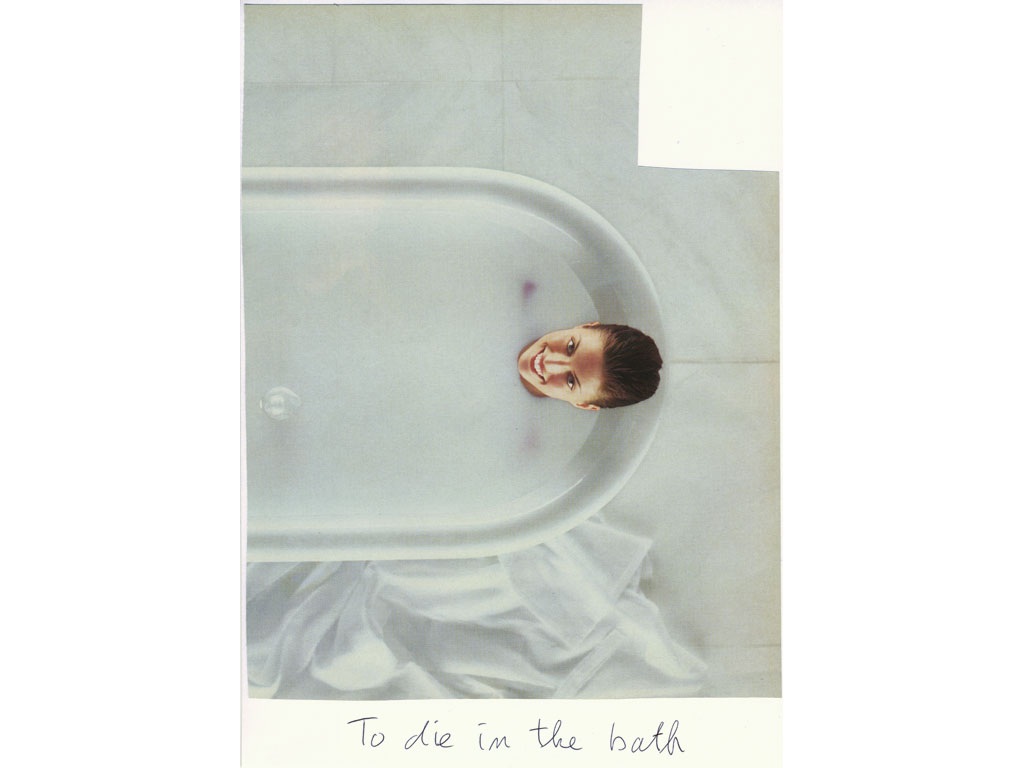 Claude Closky, 'To die in the bath', 2009, collage and ball-point pen on paper, 30 x 21 cm.