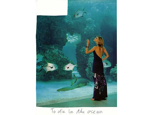 Claude Closky, 'To die in the ocean', 2009, collage and ball-point pen on paper, 30 x 21 cm.