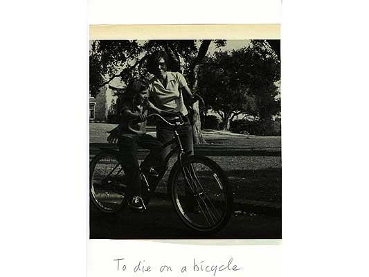 Claude Closky, 'To die on a bicycle', 2009, collage and ball-point pen on paper, 30 x 21 cm.