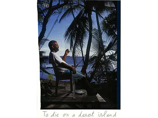 Claude Closky, 'To die on a desert island', 2009, collage and ball-point pen on paper, 30 x 21 cm.