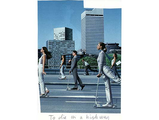 Claude Closky, 'To die on a highway', 2009, collage and ball-point pen on paper, 30 x 21 cm.