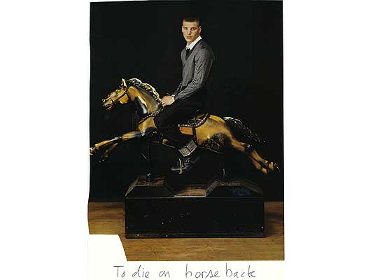 Claude Closky, 'To die on horseback', 2009, collage and ball-point pen on paper, 30 x 21 cm.