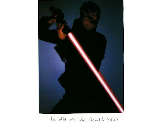 Claude Closky, 'To die on the Death Star', 2009, collage and ball-point pen on paper, 30 x 21 cm.