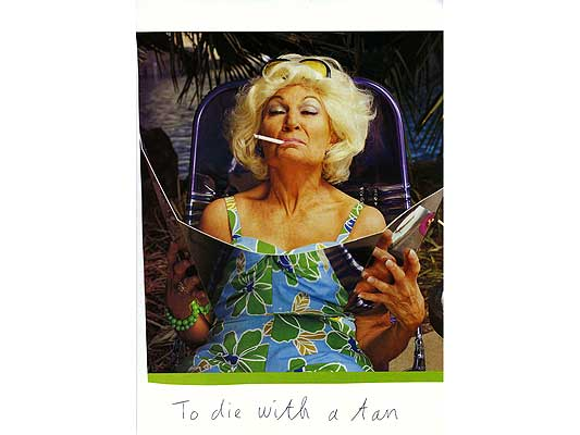 Claude Closky, 'To die with a tan', 2009, collage and ball-point pen on paper, 30 x 21 cm.
