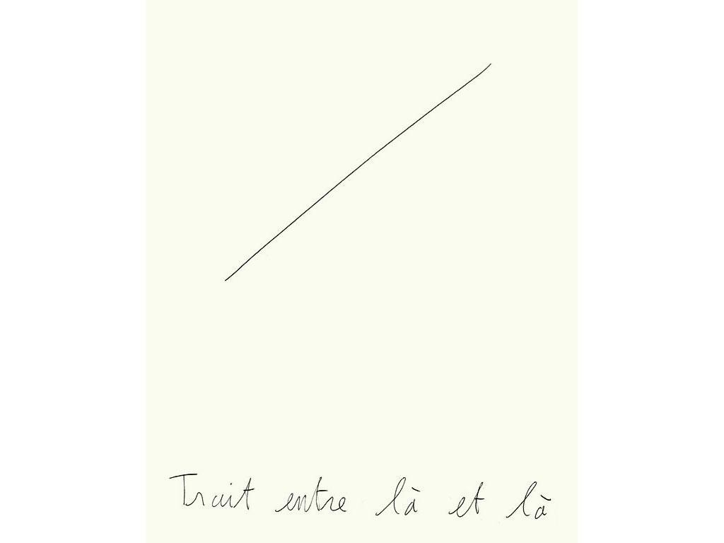 Claude Closky, 'Trait entre là et là [Line between there and there]', 1997, black ballpoint pen on paper, 32 x 24 cm.