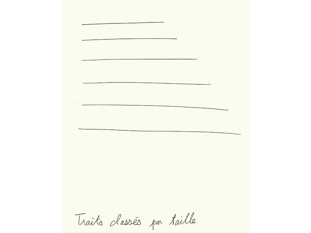 Claude Closky, 'Traits classés par taille [lines classified by size]', 1992, ballpoint pen on paper, 30 x 24 cm.
