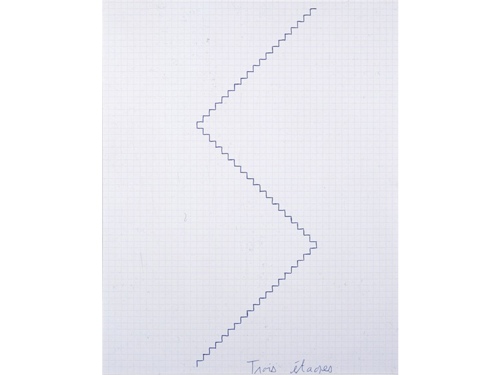 Claude Closky, 'Trois étages [three floors],' 1991, blue ballpoint pen on grid paper, 30 x 24 cm.